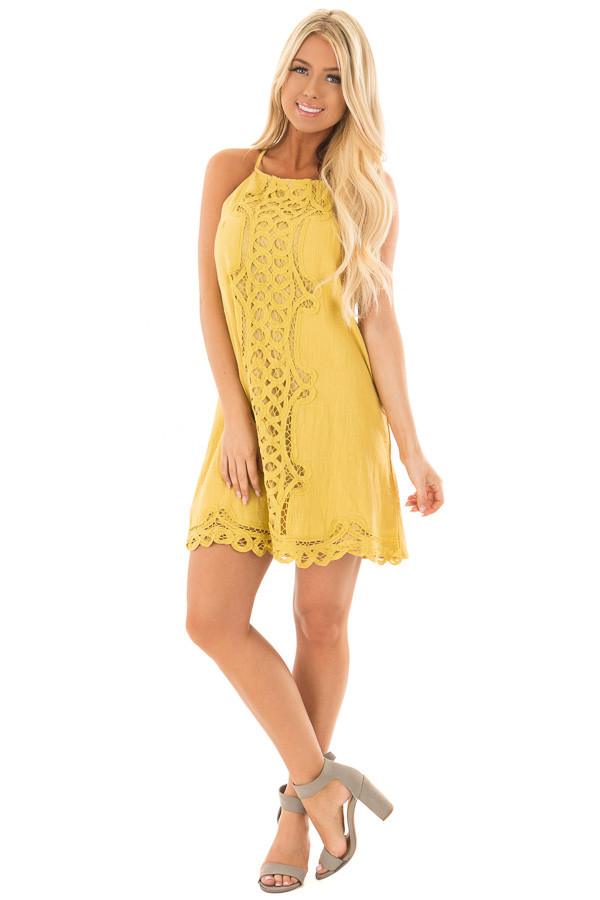 Mustard Spaghetti Strap Dress with Lace Contrast front full body