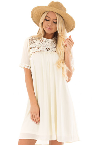 Cream Mock Neck Flowy Dress with Sheer Lace Contrast front close up