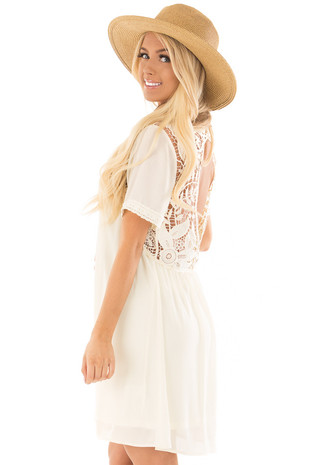 Cream Mock Neck Flowy Dress with Sheer Lace Contrast side close up
