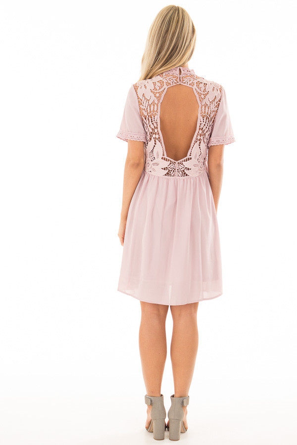 Mauve Mock Neck Flowy Dress with Sheer Lace Contrast back full body