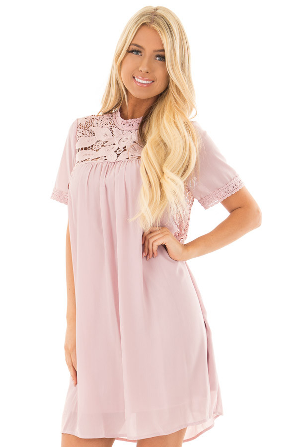 Mauve Mock Neck Flowy Dress with Sheer Lace Contrast front close up