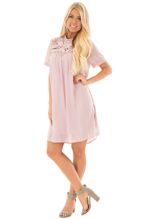 Mauve Mock Neck Flowy Dress with Sheer Lace Contrast front full body