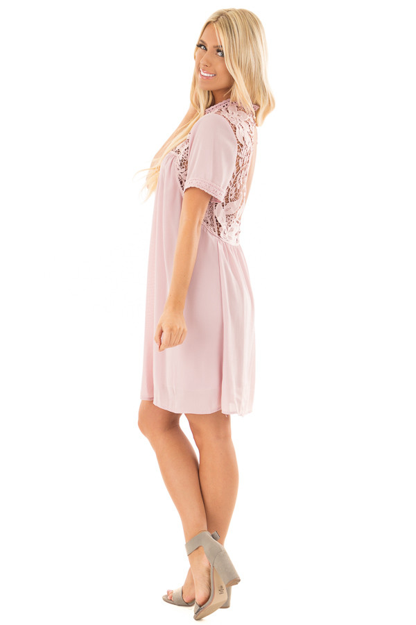 Mauve Mock Neck Flowy Dress with Sheer Lace Contrast side full body