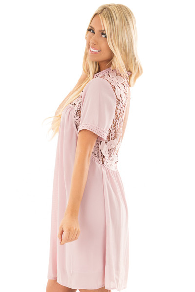 Mauve Mock Neck Flowy Dress with Sheer Lace Contrast side close up