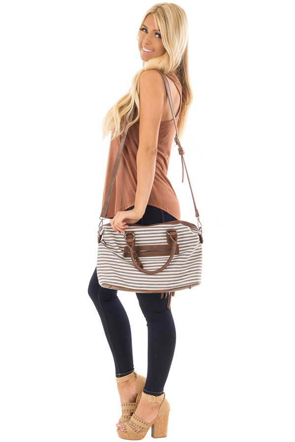 Navy and Cream Striped Canvas Tote with Embroidered Front side full body