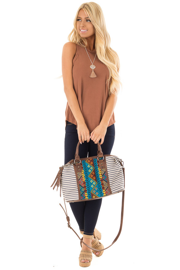 Navy and Cream Striped Canvas Tote with Embroidered Front front full body