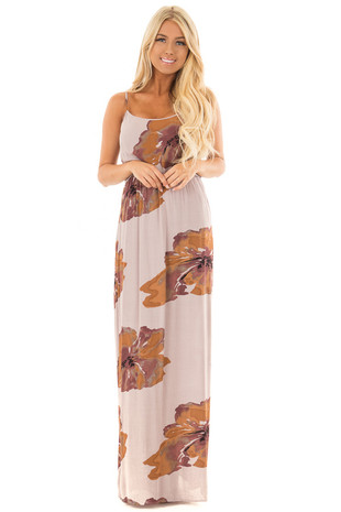 Dusty Lilac Floral Print Maxi Dress front full body