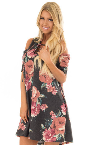 Charcoal Floral Print Swing Dress with Lace Up Neckline front close up