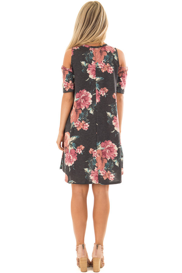 Charcoal Floral Print Swing Dress with Lace Up Neckline back full body