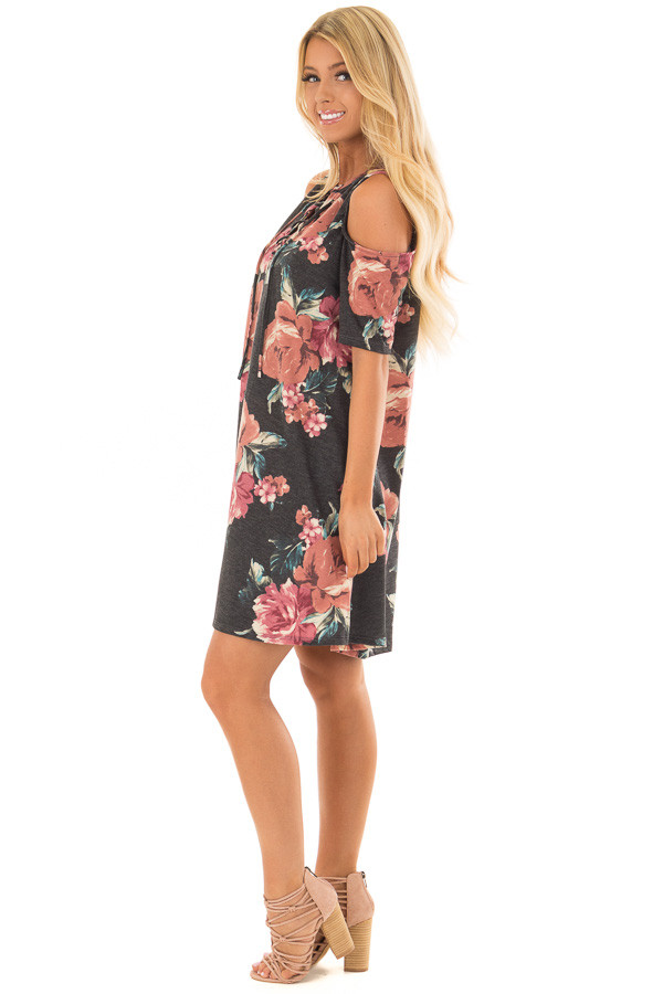 Charcoal Floral Print Swing Dress with Lace Up Neckline side full body