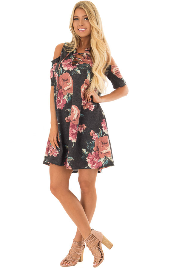 Charcoal Floral Print Swing Dress with Lace Up Neckline front full body