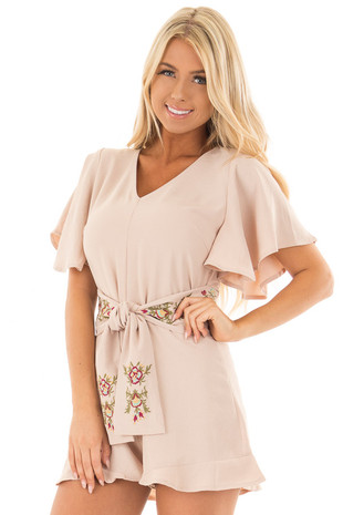 Taupe V Neck Romper with Embroidery Detail and Waist Tie front close up