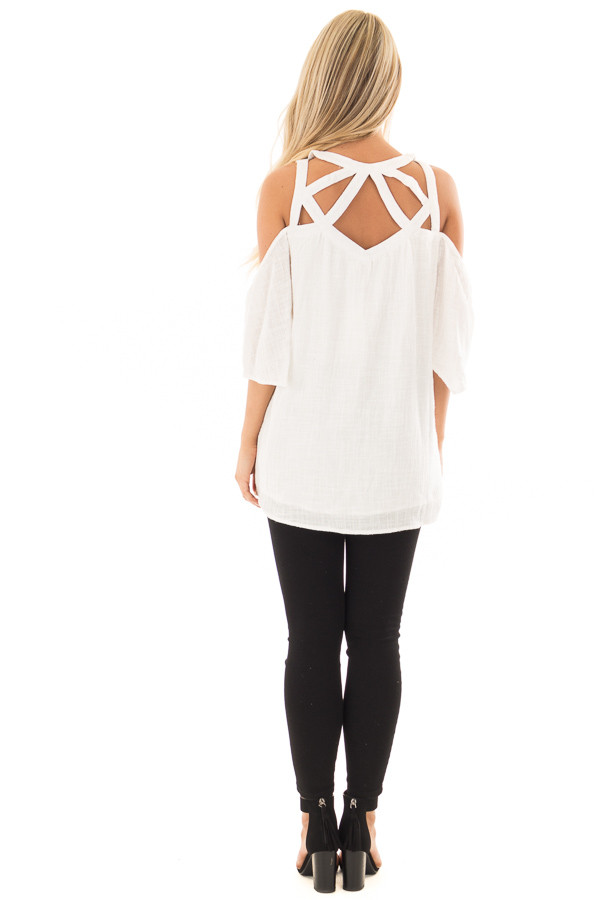 Ivory Cold Shoulder Top with Cut Out Neckline back full body
