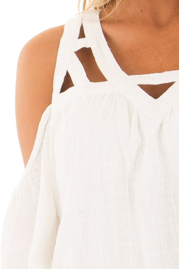 Ivory Cold Shoulder Top with Cut Out Neckline detail