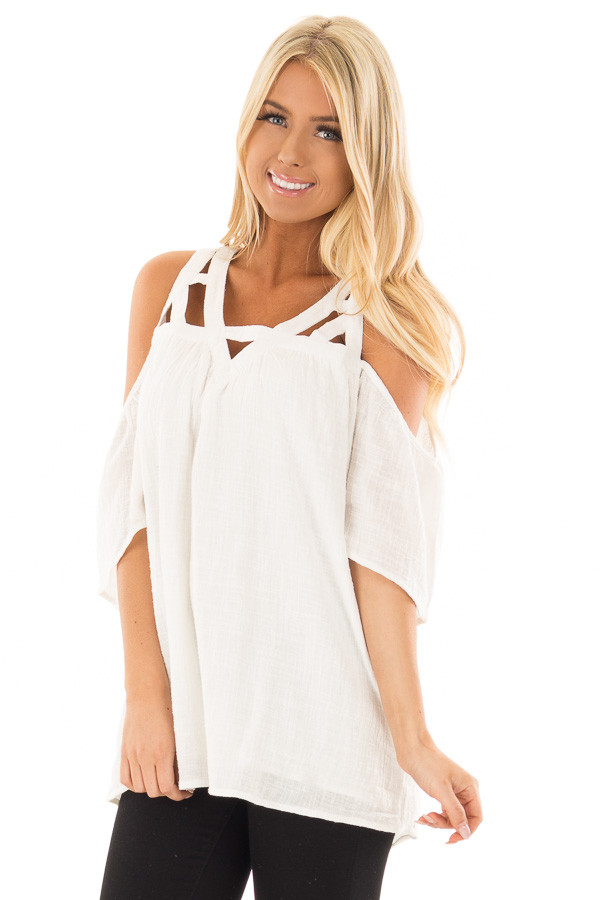 Ivory Cold Shoulder Top with Cut Out Neckline front close up