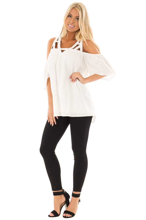 Ivory Cold Shoulder Top with Cut Out Neckline front full body