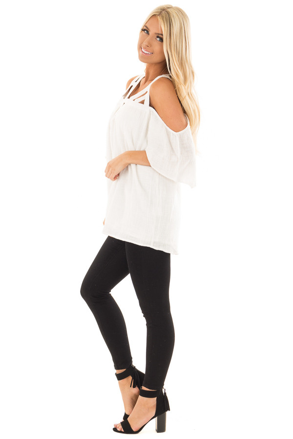 Ivory Cold Shoulder Top with Cut Out Neckline side full body