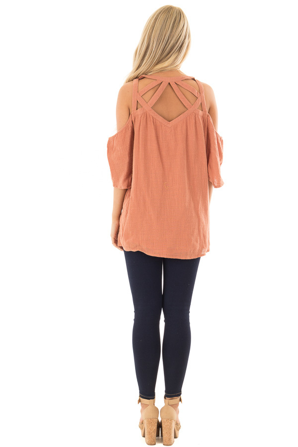 Faded Rust Cold Shoulder Top with Cut Out Neckline back full body