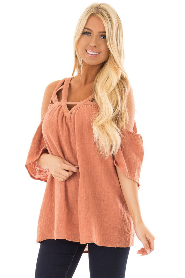 Faded Rust Cold Shoulder Top with Cut Out Neckline front close up