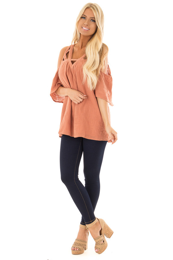 Faded Rust Cold Shoulder Top with Cut Out Neckline front full body