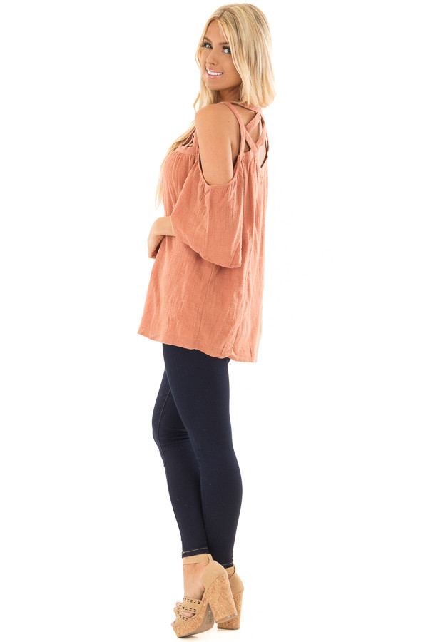 Faded Rust Cold Shoulder Top with Cut Out Neckline side full body