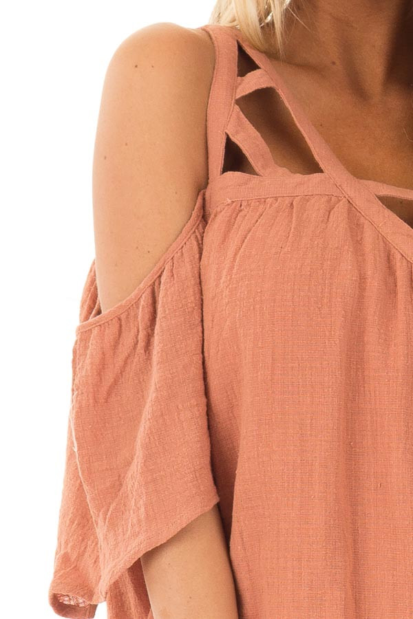 Faded Rust Cold Shoulder Top with Cut Out Neckline detail