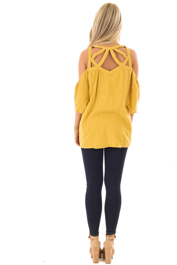 Dusty Gold Cold Shoulder Top with Cut Out Neckline back full body