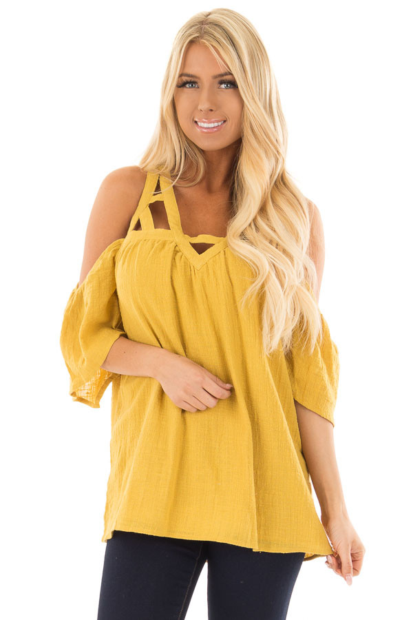 Dusty Gold Cold Shoulder Top with Cut Out Neckline front close up