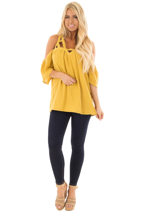 Dusty Gold Cold Shoulder Top with Cut Out Neckline front full body