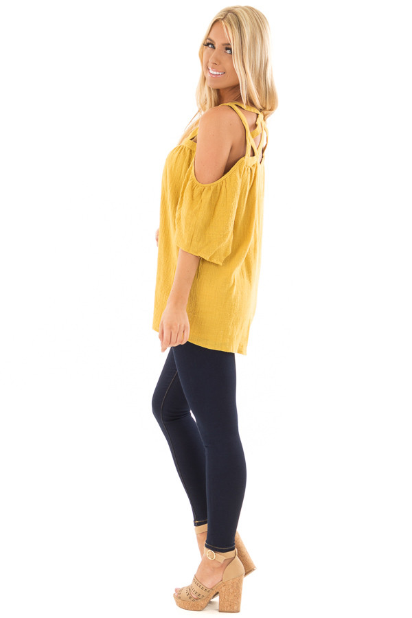 Dusty Gold Cold Shoulder Top with Cut Out Neckline side full body