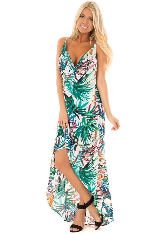 Ivory Tropical Print Wrap Style Maxi Dress front full body