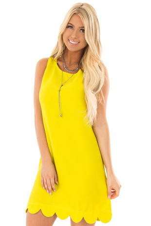 Lime Scalloped Hem Tank Top Dress front close up
