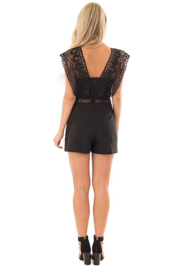 Black Romper with Sheer Crochet Straps back full body