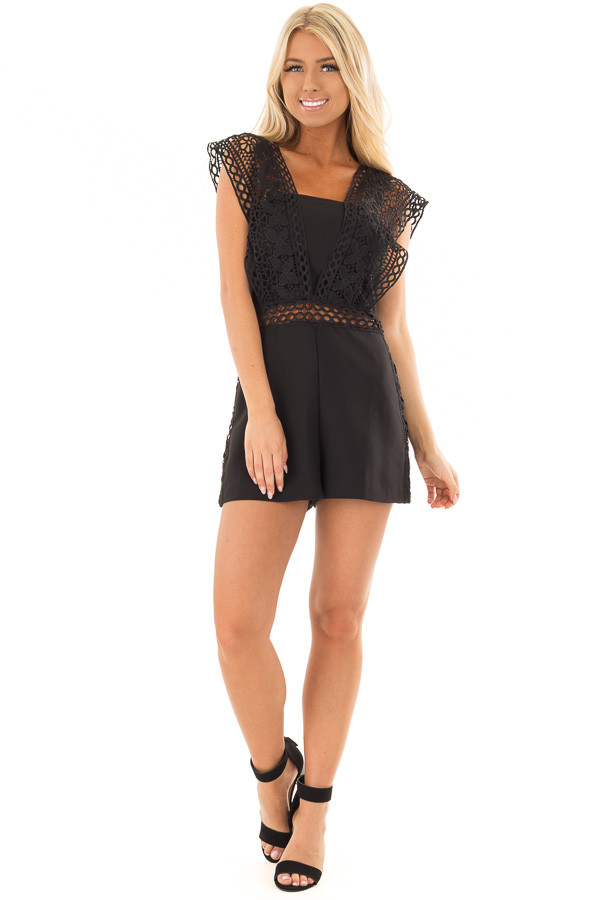 Black Romper with Sheer Crochet Straps front full body