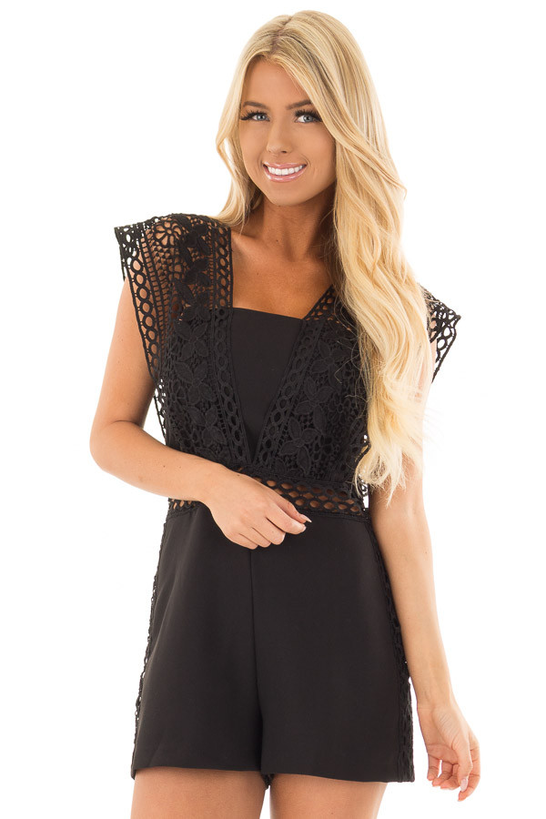 Black Romper with Sheer Crochet Straps front close up