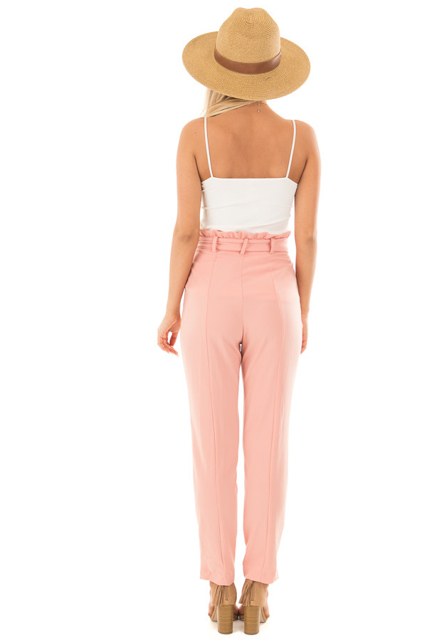 Blush Cropped Dress Pants with Waist Tie back full body