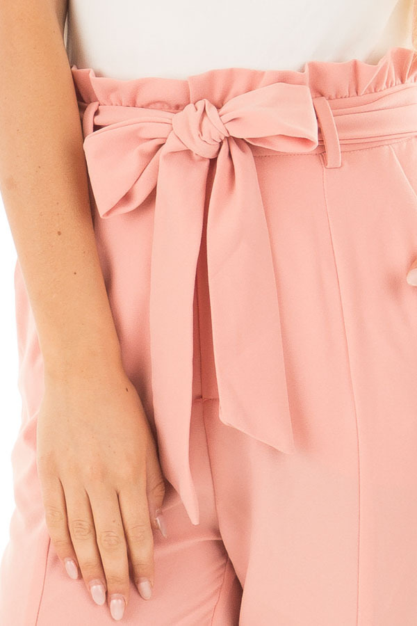 Blush Cropped Dress Pants with Waist Tie detail