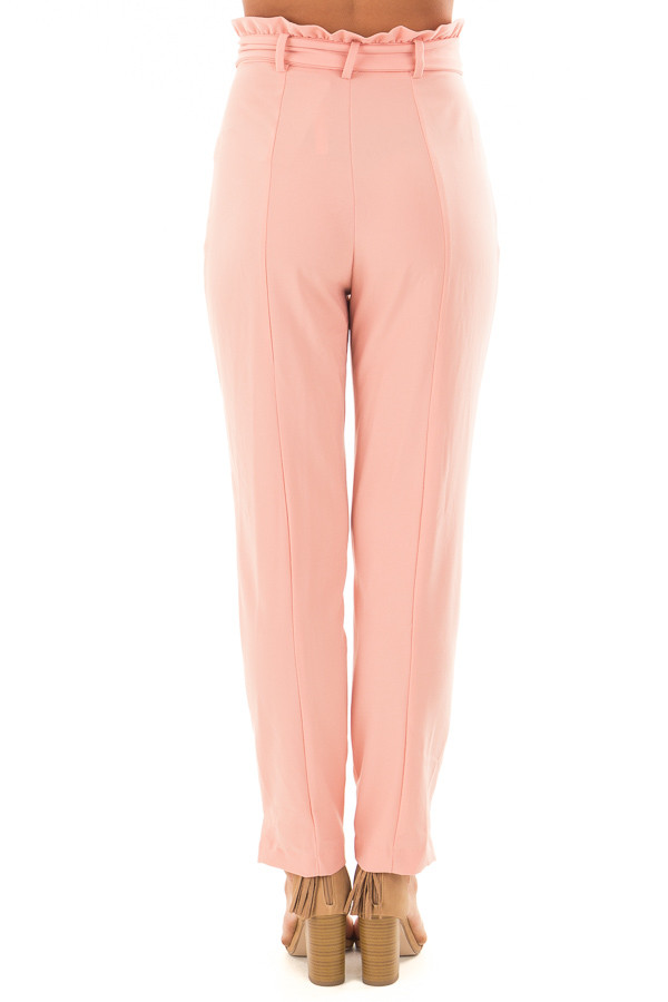 Blush Cropped Dress Pants with Waist Tie back view