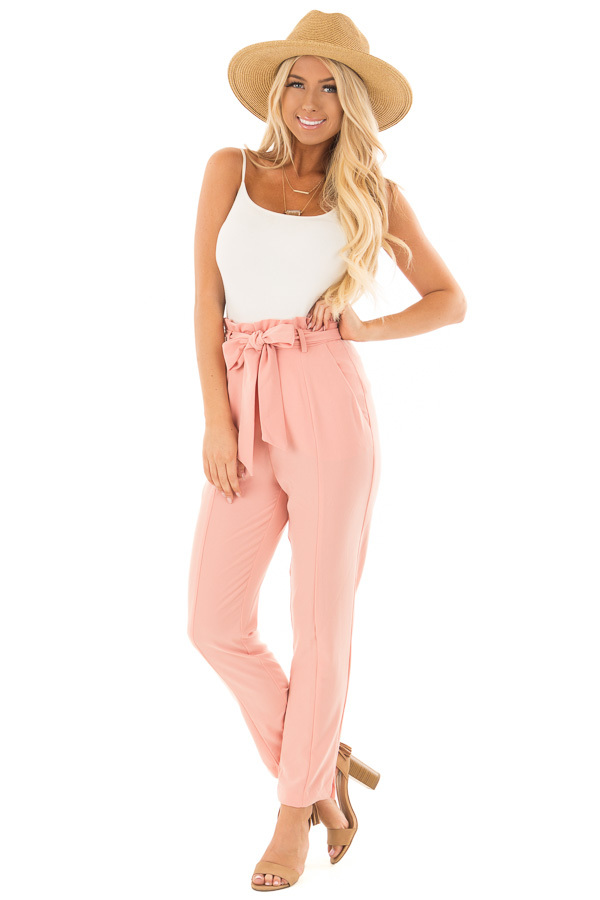 Blush Cropped Dress Pants with Waist Tie front full body