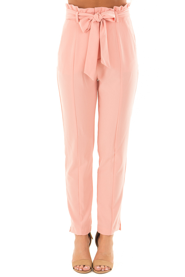 Blush Cropped Dress Pants with Waist Tie front view
