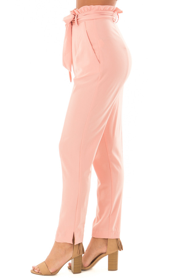 Blush Cropped Dress Pants with Waist Tie side view