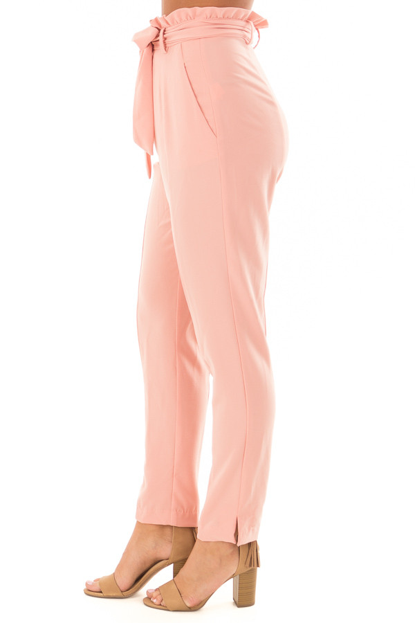 Blush Cropped Dress Pants with Waist Tie front side view