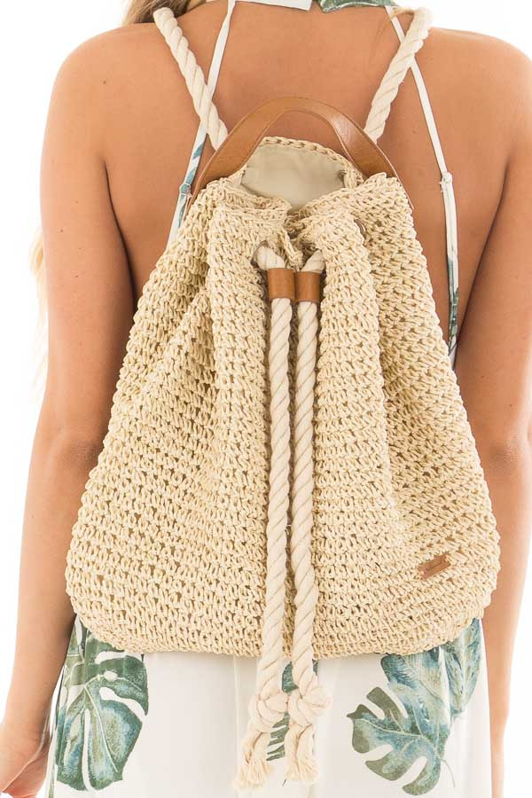 Beige Straw Backpack with Ivory Rope Details detail