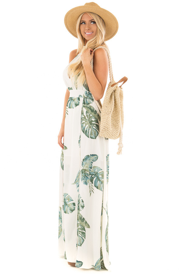 Beige Straw Backpack with Ivory Rope Details side full body