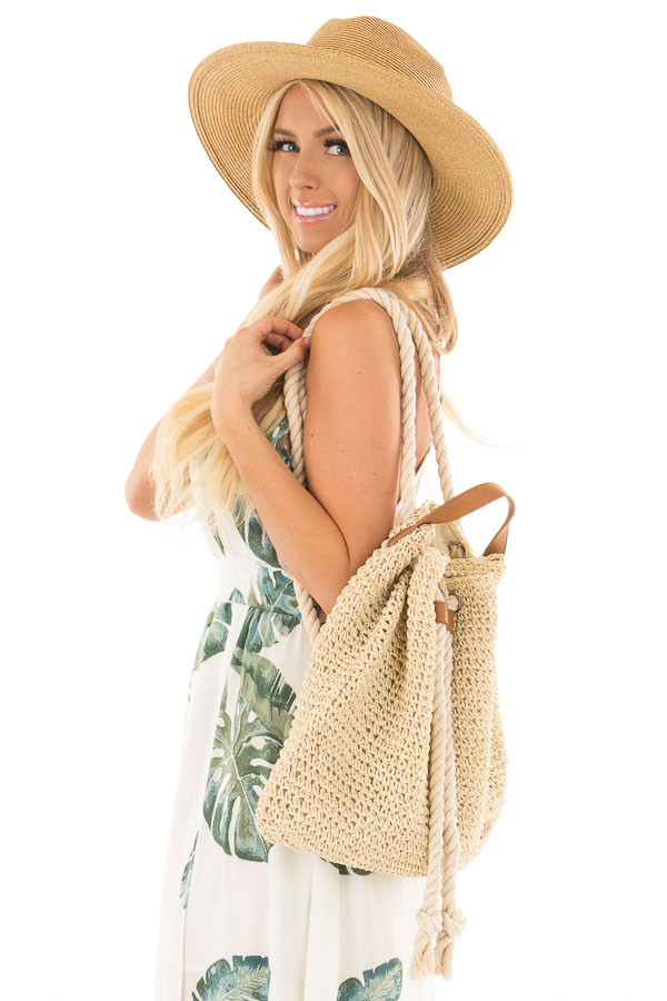Beige Straw Backpack with Ivory Rope Details front close up