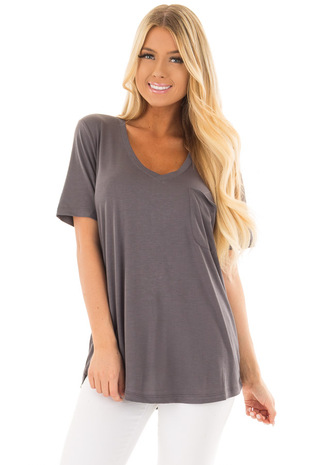 Charcoal V Neck Top with Front Pocket front close up