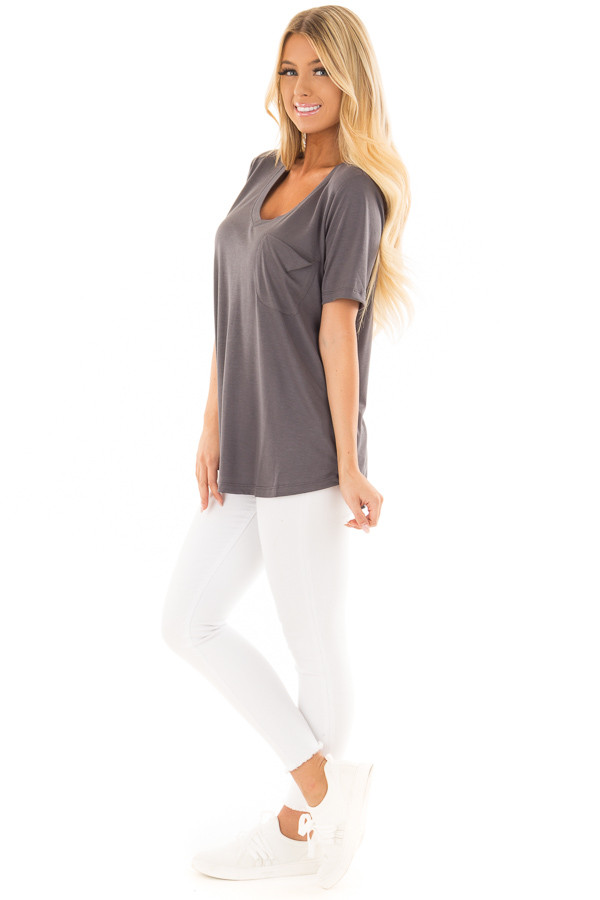 Charcoal V Neck Top with Front Pocket side full body