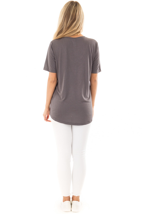 Charcoal V Neck Top with Front Pocket back full body