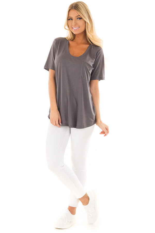Charcoal V Neck Top with Front Pocket front full body
