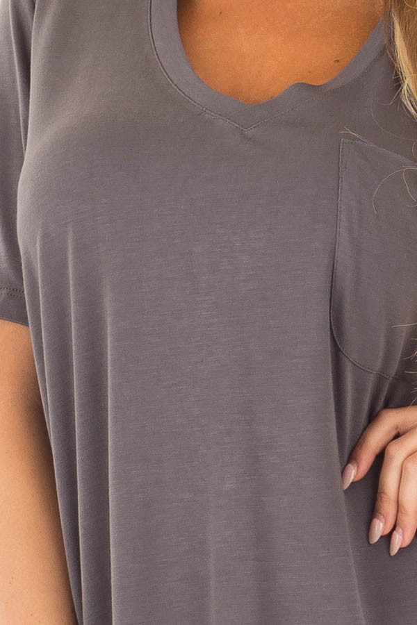 Charcoal V Neck Top with Front Pocket detail